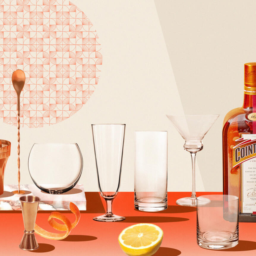 a guide to glassware with cointreau