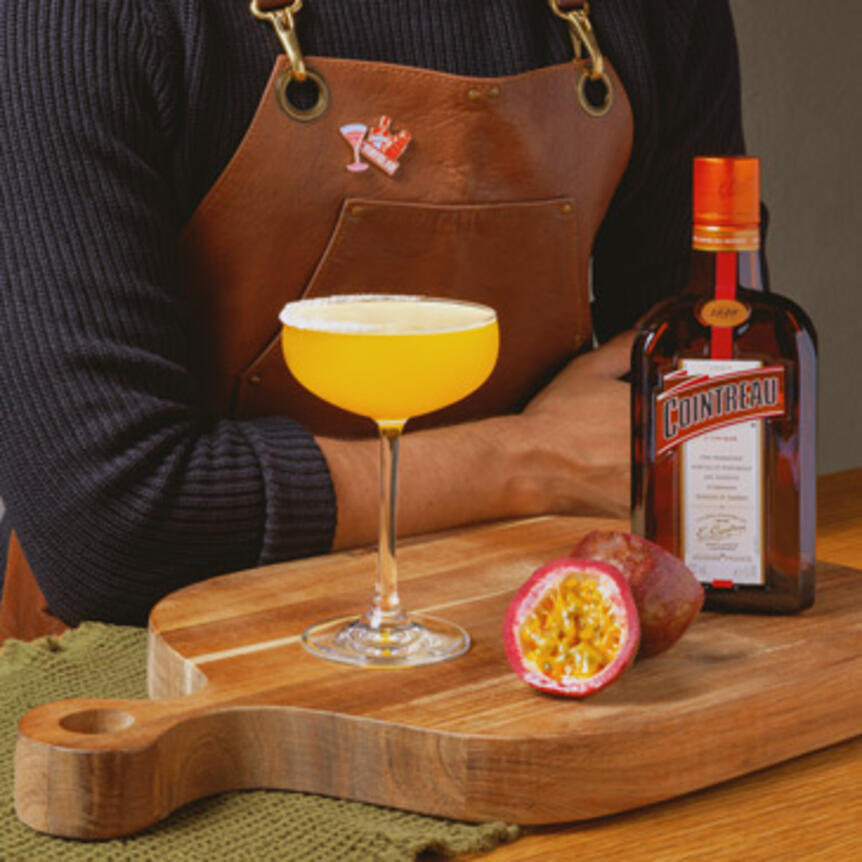 the winter margarita made with passionfruit