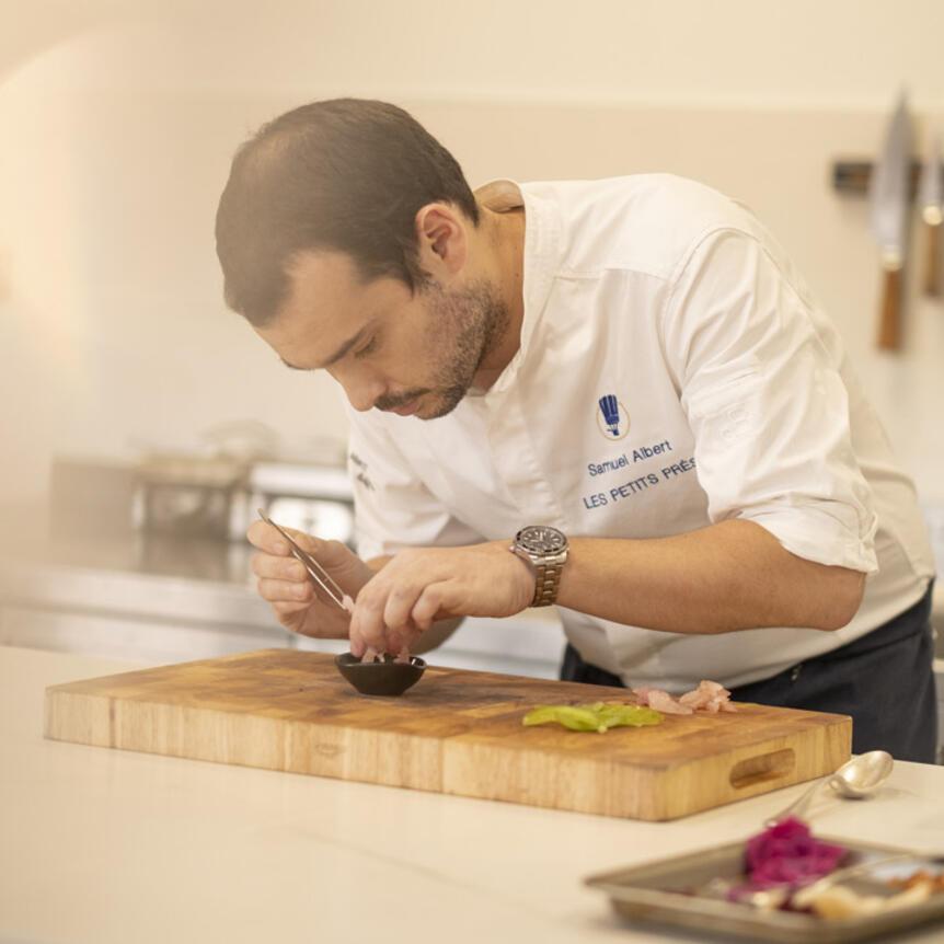 samuel albert preparing food