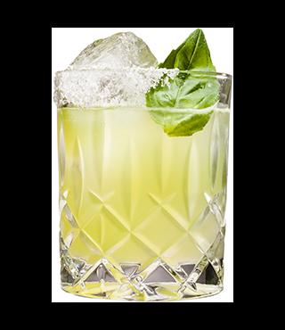 Margarita de limón y albahaca